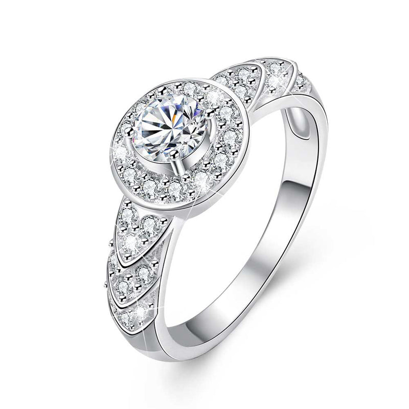 18K White-Gold Plated Round Cut Engagement Ring - Romatco Jewelry