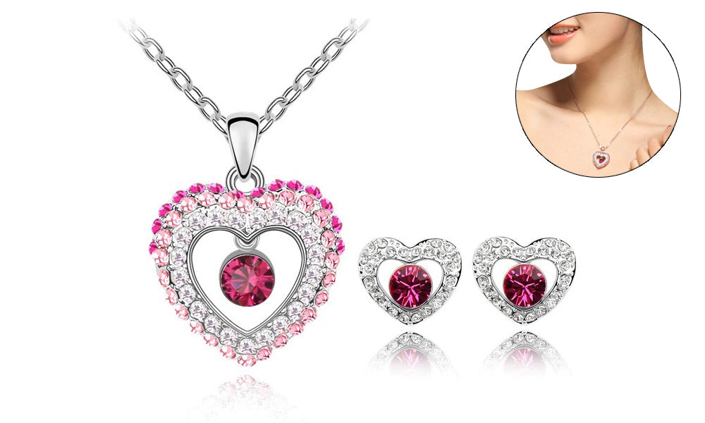 18K White-Gold Plated Princess Set Jewelry Set romatco.myshopify.com