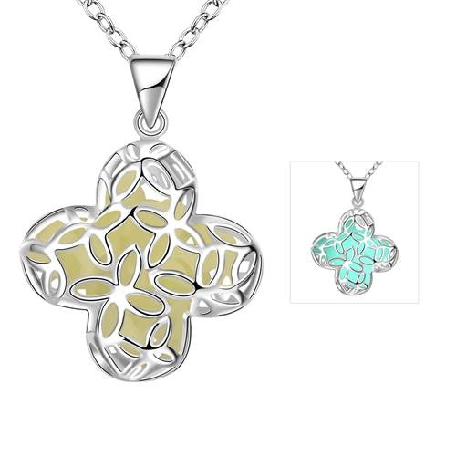 18K White-Gold Plated Ariya Glow in the Dark Necklace - Romatco Jewelry