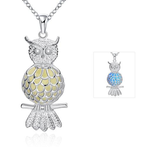 18K White-Gold Plated Glow in the Dark Owl Necklace