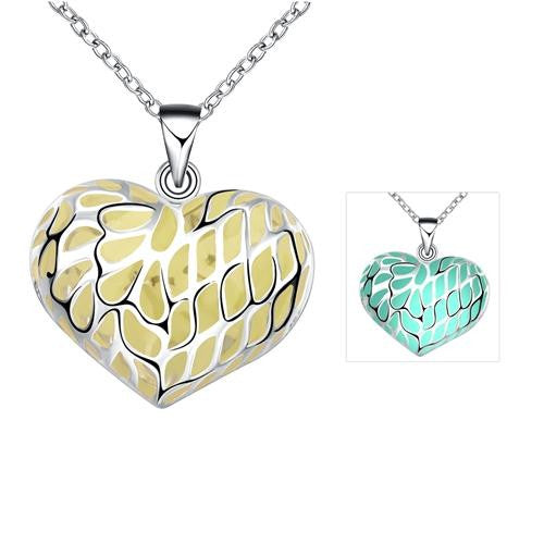 18K White-Gold Plated Heart & Soul Glow in the Dark Necklace