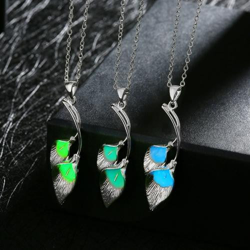 18K White-Gold Plated Duals Leaves Glow in the Dark Necklace