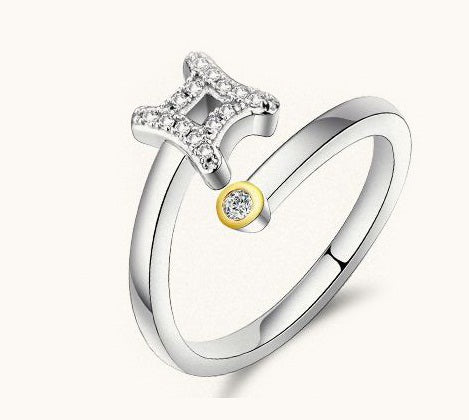 18K White-Gold Plated Zodiac Sign Rings-Romatco