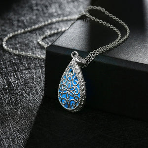18K White-Gold Plated Tear Drop Glow in the Dark Necklace