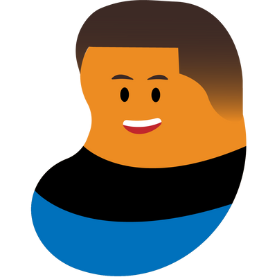 An illustrated bean person with brown hair and a black and blue shirt
