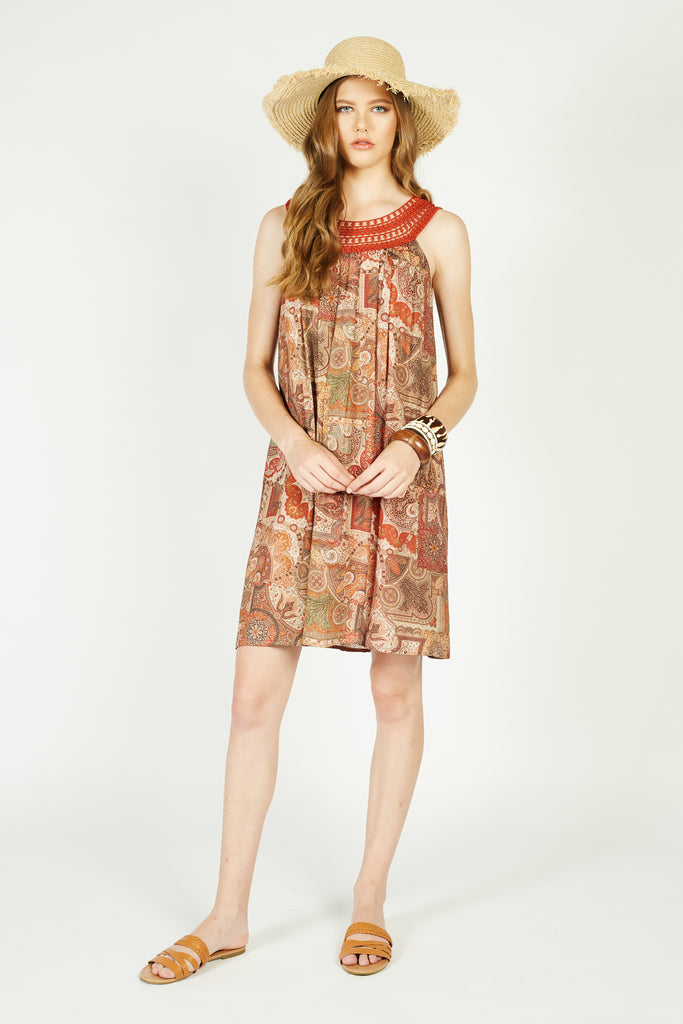 Raina Printed Halter Dress