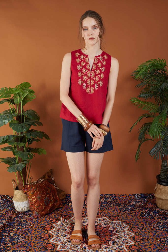 Angelika Embroidered Sleeveless Top
