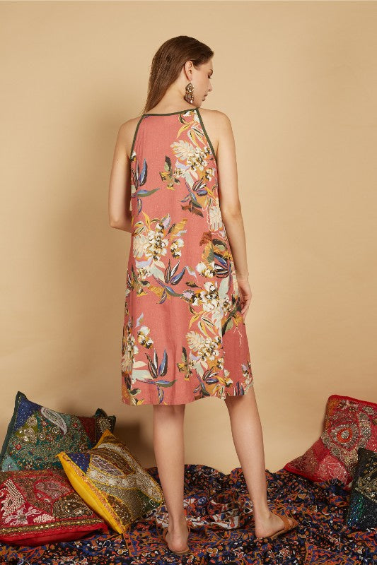 Merav Tropical Halter Dress