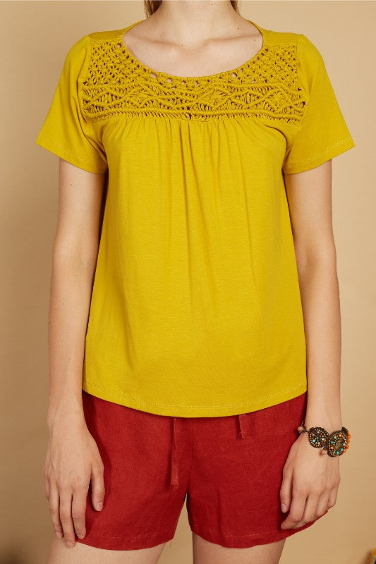 Sariel Macrame Short Sleeve Top