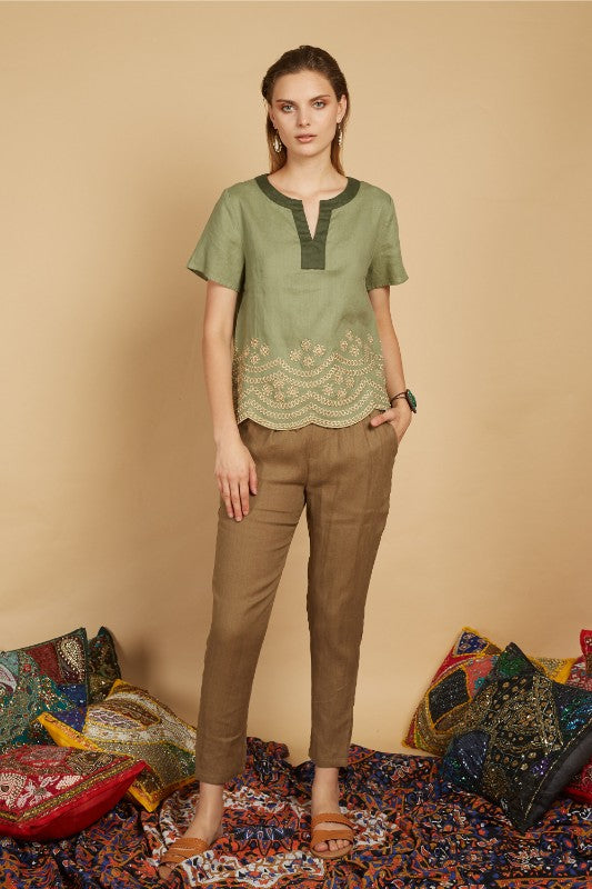 Havva Scallop Embroidery Top