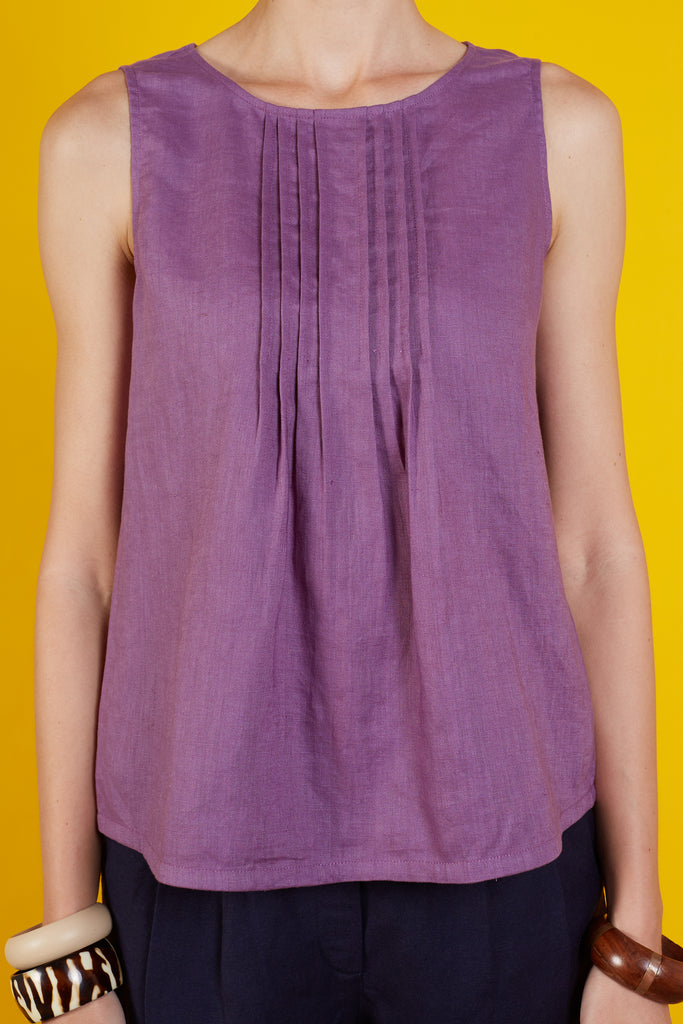 Veara Pleated Sleeveless Top