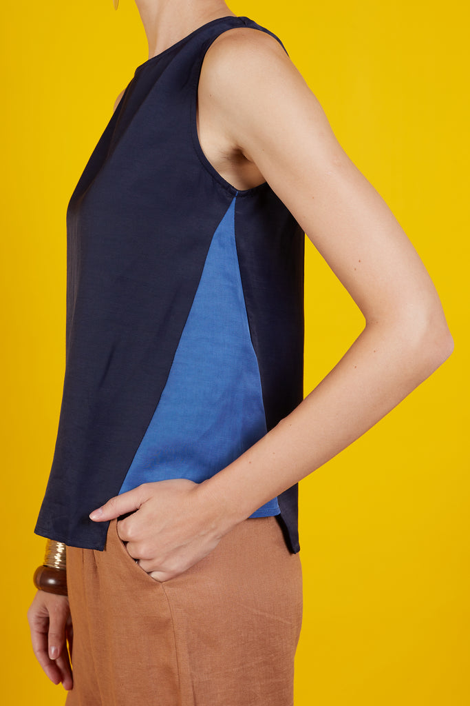 Sarasa Color Block Sleeveless Top