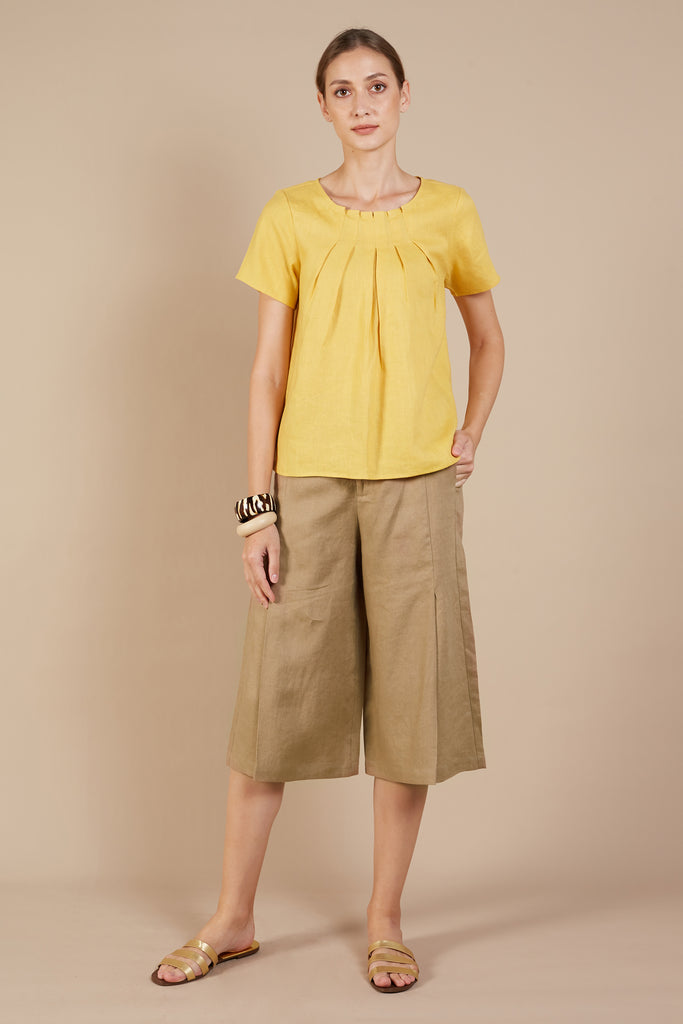Lola Front Pleated Cropped Pants
