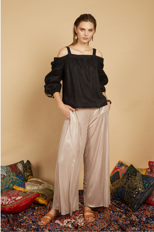 Iserl Embroidered Cold Shoulder Top
