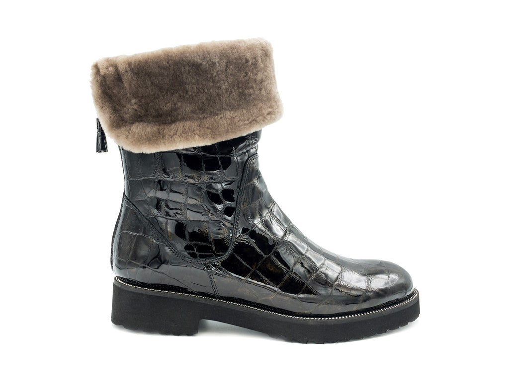 Stivaletto coccodrillo in pelle con shearling