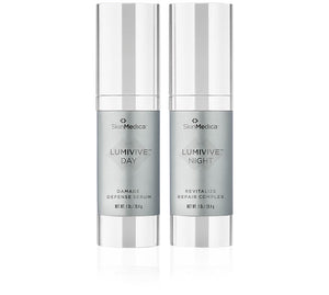 SkinMedica LUMIVIVE® System AM Damage Defense Serum and PM Night Revitalize Repair Complex