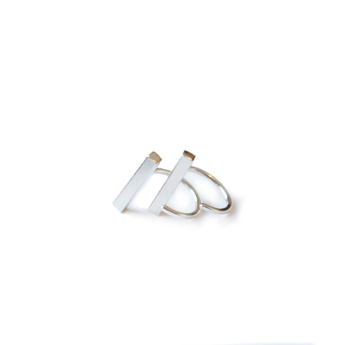s925 Sterling Silver Bar Huggies - lizamari