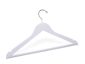 Adult White Wooden Suit Hanger  w/Bar and Gold Hook-Royal Heirloom | from $1.25