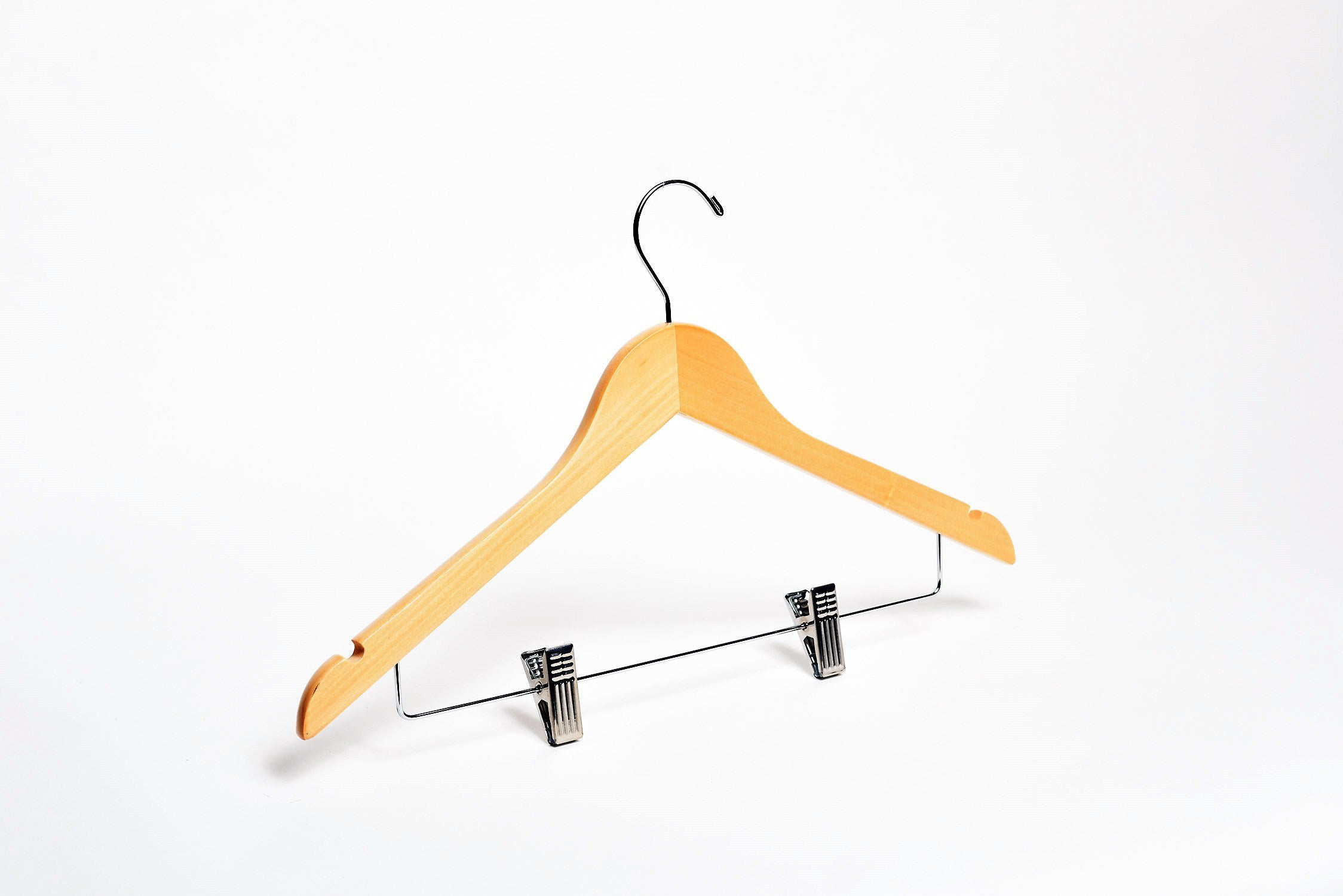 Adult Natural Combination Wooden Hanger w/ Anti Slip-Anti Stain Clips | from $1.45