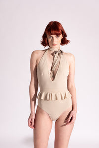 Costume Intero Double Face Tortora e Beige