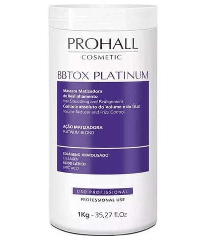 Hair Bbtox Max Platinum Yellow Neutralizer Realignment Toning Mask 1Kg - Prohall
