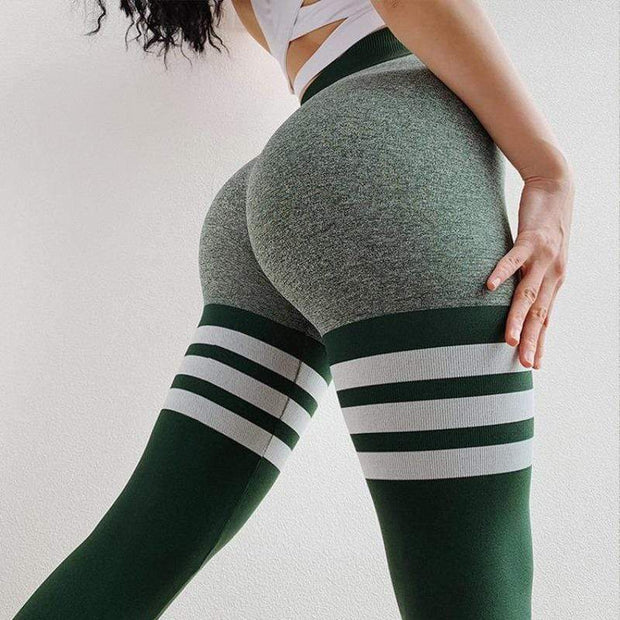 Seamless Striped Quick-dry Leggings - Ahanova Sports