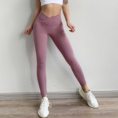 High Waist Slim Waist Yoga Leggings - Ahanova Sports