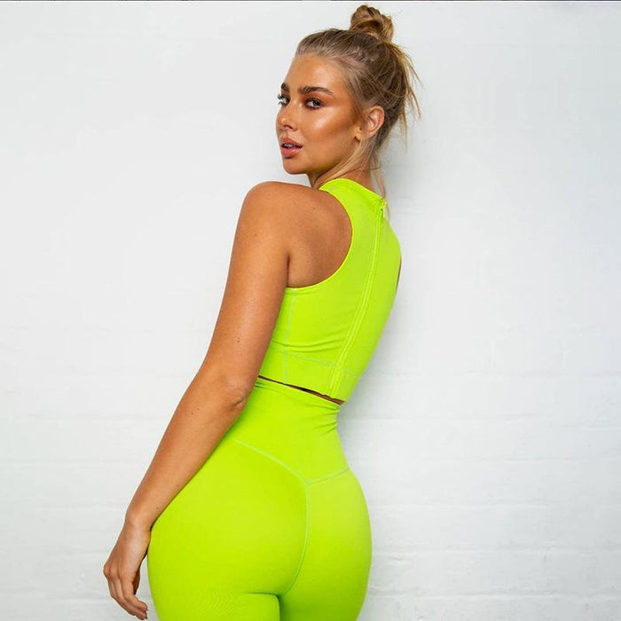 Neon Color Zip Back Fashion Design Activewear Yoga Suit - Ahanova Sports