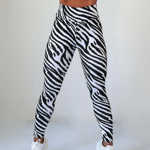 High Waist Tight Stretch Zebra Print Fitness Leggings