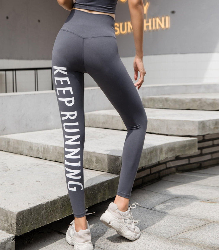 Elastic Tight Hip Leggings Letter Printed Slim Quick-drying Fitness Pants - Ahanova Sports