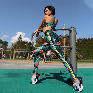 Summer Holiday Floral Printed Activewear Yoga Suit - Ahanova Sports