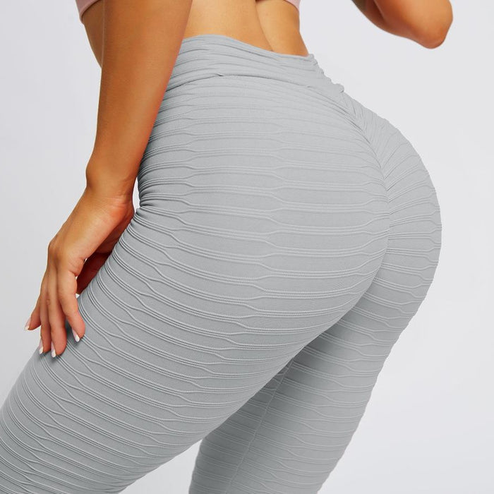 Solid Textured Butt Lifting Stretch Workout Leggings - Ahanova Sports