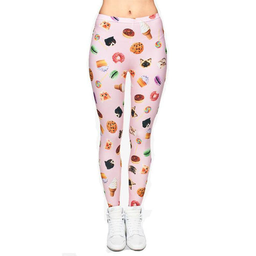 3D Series Cat & Food Print Workout Leggings