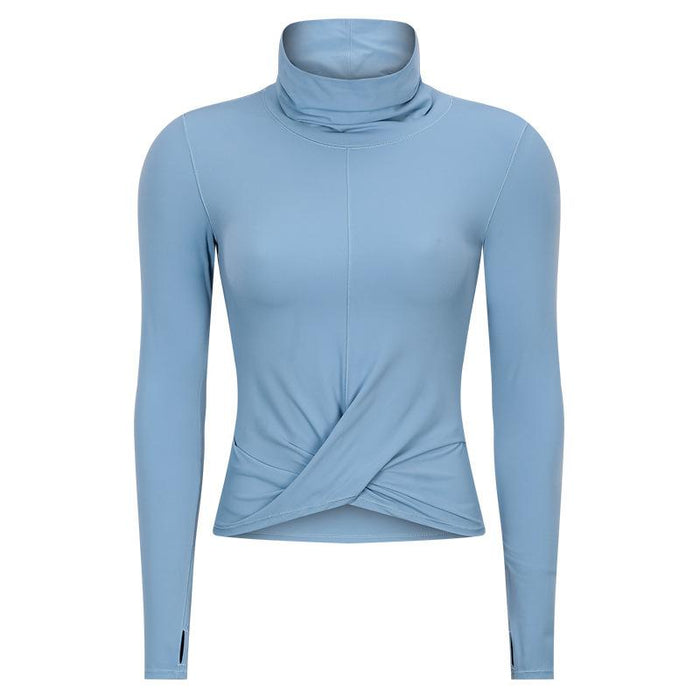 Outdoor Leisure High Collar Slim Solid Color Long Sleeve