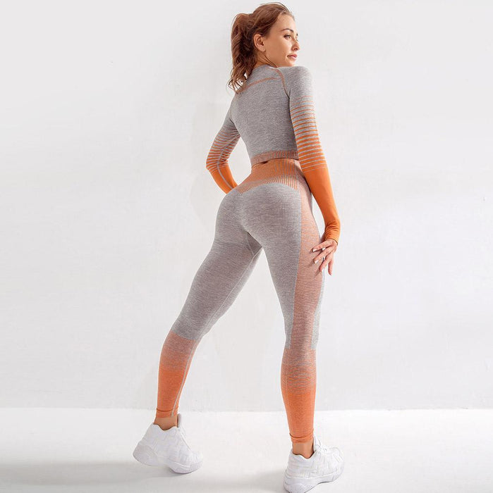 Stripe Side Rugged Surface Hip Lifting Yoga Suit - Ahanova Sports