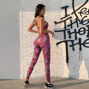 Floral Printed Red Tank Top & High Waist Activewear Yoga Suit - Ahanova Sports