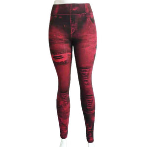 Imitation Denim Printed Street Style Fashion Leggings - Ahanova Sports