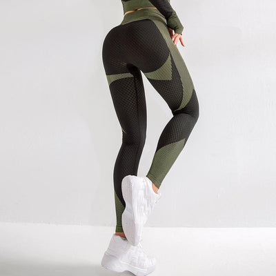 Striped High Rise Breathable Sports Leggings - Ahanova Sports