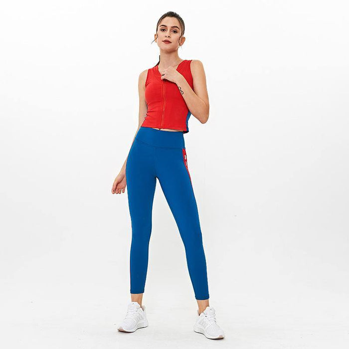 Sleeveless Sports Vest High Waist Tights Yoga Suit
