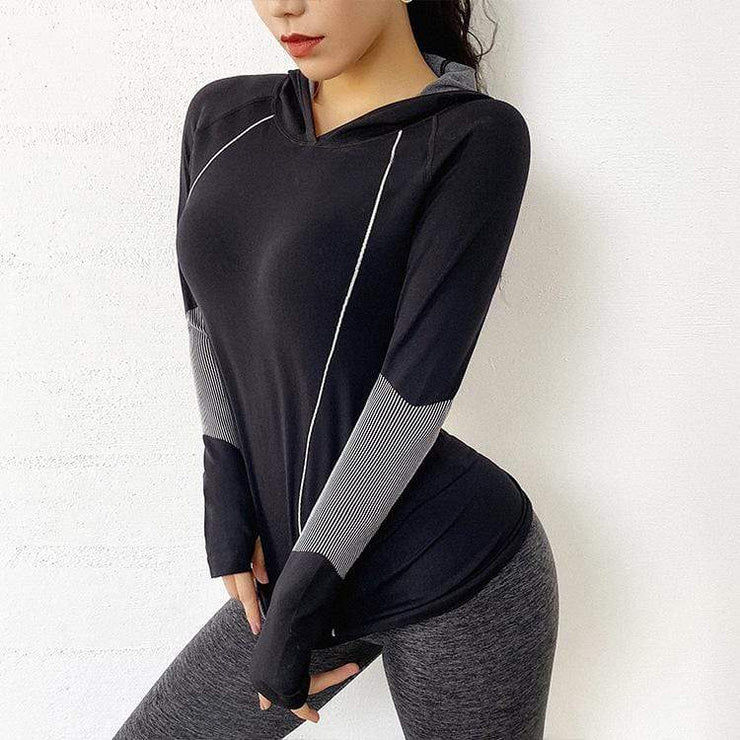 Quick-dry Loose Hooded Yoga Long Sleeves - Ahanova Sports