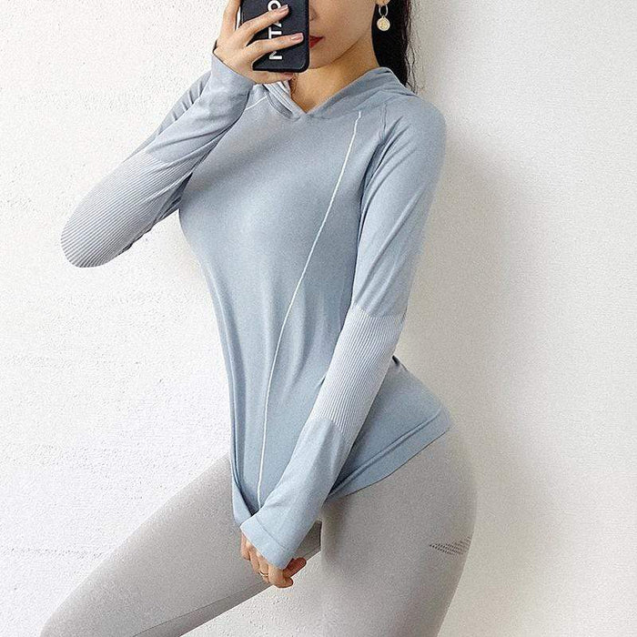 Quick-dry Loose Hooded Yoga Long Sleeves
