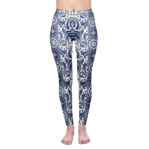 3D Series Blue And White Porcelain Print Workout Leggings