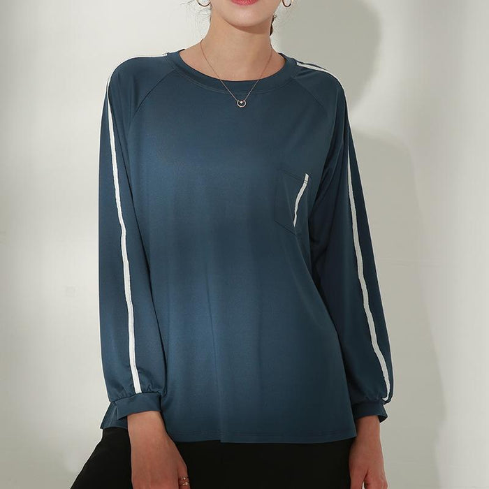 Solid Casual Relaxed Yoga Long Sleeve