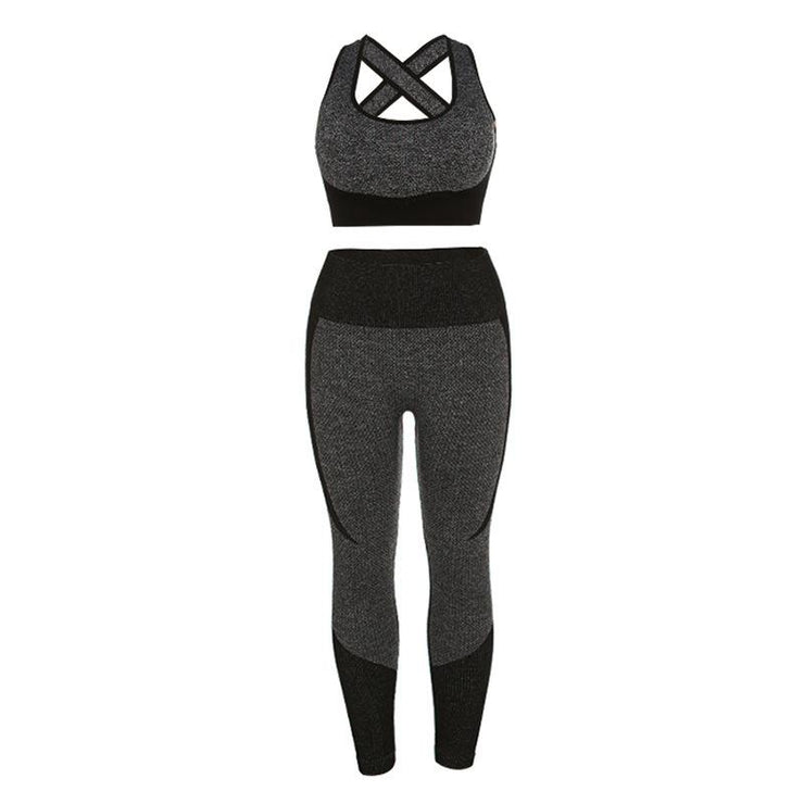 Elastic Patchwork Hip Lifting & Cami Top Activewear Yoga Suit - Ahanova Sports
