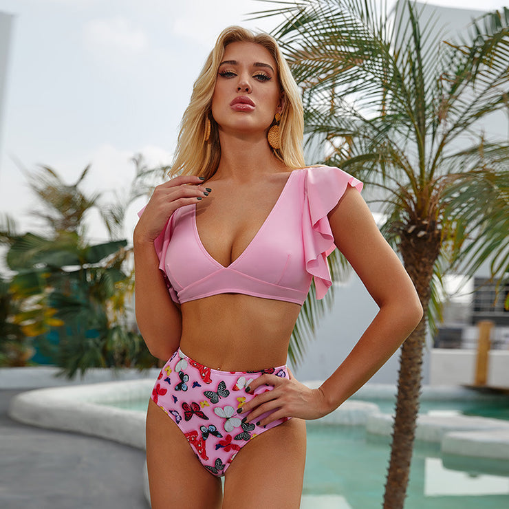 Sexy Butterfly Print High Waist & Ruffled Cuff Bikini - Ahanova Sports