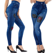 Load image into Gallery viewer, Splicing Patterns Imitation Denim Printing Workout Leggings - Ahanova Sports