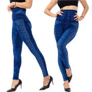 High Waist Imitation Jeans Stretchy Leggings - Ahanova Sports