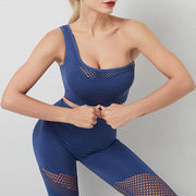 Gathered One-shoulder Sports Bra & Mesh Leggings Set - Ahanova Sports