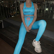 Pure Color With Letter Printed Activewear Yoga Suit - Ahanova Sports
