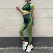 Ombre Midriff-baring Activewear Yoga Suit - Ahanova Sports